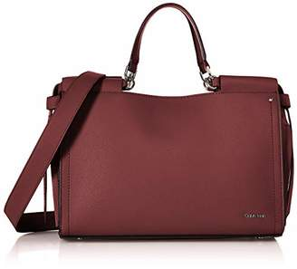 Calvin Klein Callie Crosshatch Leather Knotted Satchel