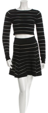 Torn by Ronny Kobo Mesh-Trimmed Crop Top Skirt Set w/ Tags