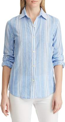 Chaps Petite Striped Straight-Fit Button-Down Shirt