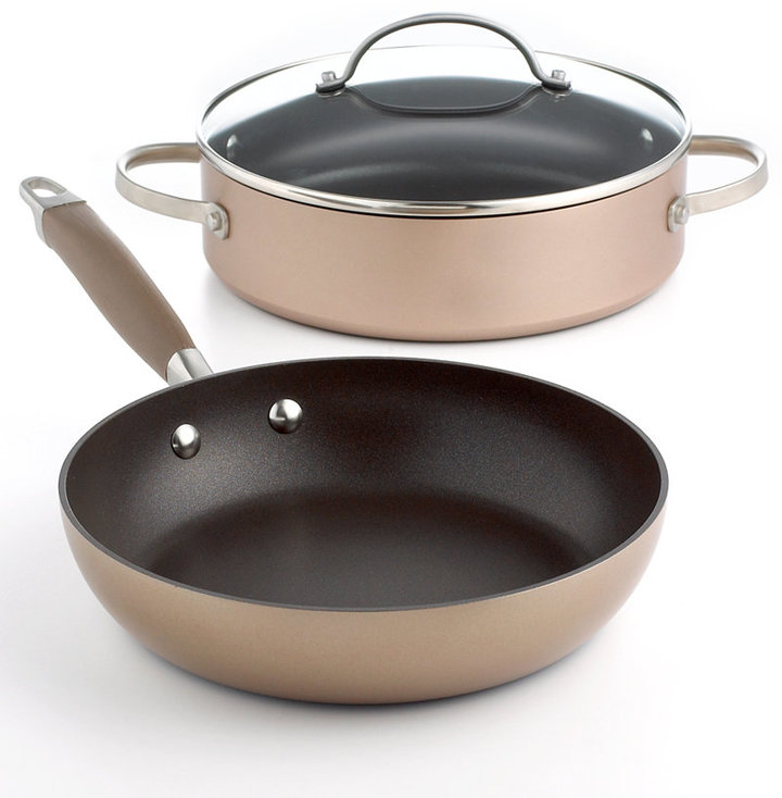 "Anolon Advanced Bronze Nonstick 3 Qt. Covered Sauteuse & 9.5"" French Skillet"""