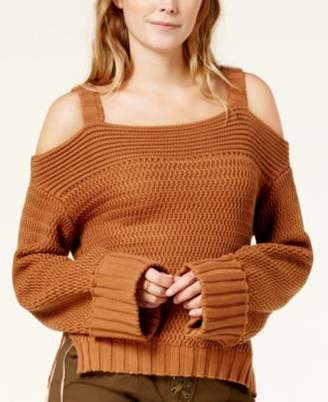 Endless Rose Cold-Shoulder Cuffed-Sleeve Sweater