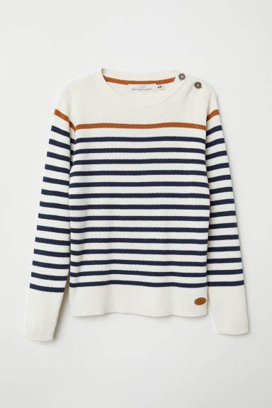 H&M - Fine-knit Cotton Sweater - Beige