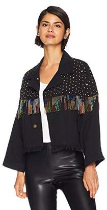The Kooples Women's Women's Cropped Denim Beaded Fringe Jacket with Multi-Colored Studs
