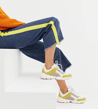 Monki chunky sneakers in beige and yellow