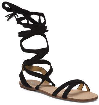 Wraparound Ankle Strap Suede Sandals