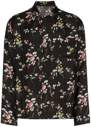 Haider Ackermann black floral print long sleeve shirt