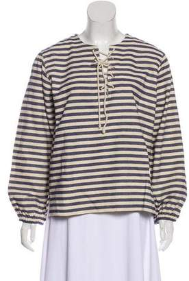 Mes Demoiselles Striped Lace-Up Top w/ Tags