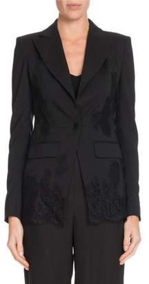 Altuzarra Tonal Lace One-Button Wool Blazer w/ Lace Panels