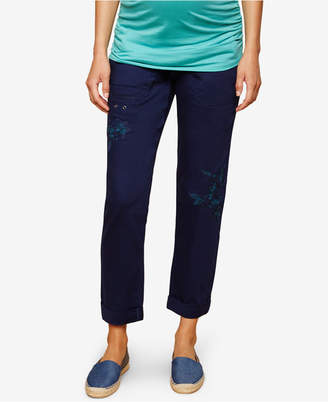Motherhood Maternity Embroidered Cropped Pants