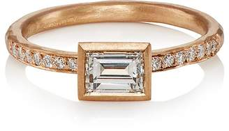Malcolm Betts Women's White Diamond & Rose Gold Ring