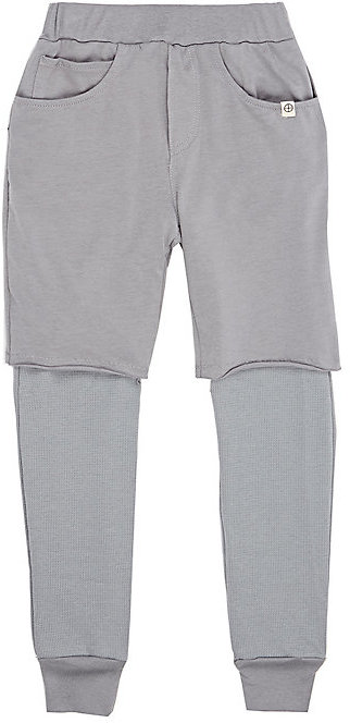 Lennon and Wolfe Layered Cotton-Modal Leggings-GREY