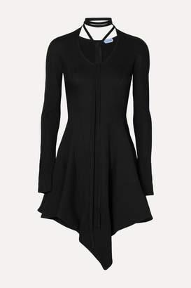 Thierry Mugler Asymmetric Tie-detailed Twill Mini Dress - Black
