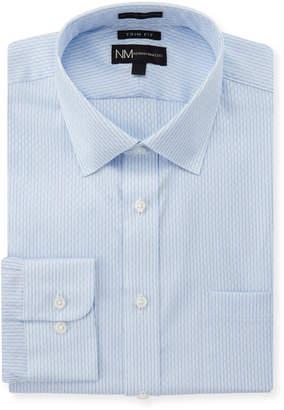 Neiman Marcus Trim-Fit Regular-Finish Blue Shadow Dress Shirt