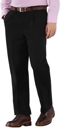 Charles Tyrwhitt Black Classic Fit Single Pleat Non-Iron Cotton Chino Pants Size W32 L30