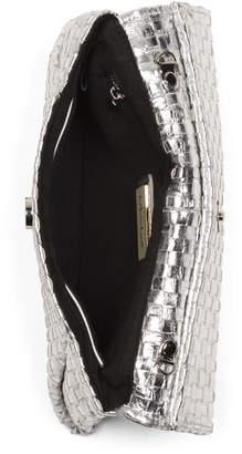 Molly Woven Metallic Leather Crossbody Clutch