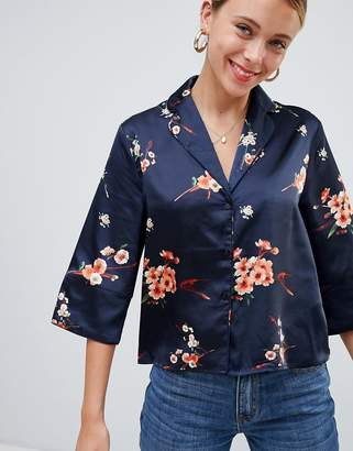 Only Japaan printed wide sleeve shirt