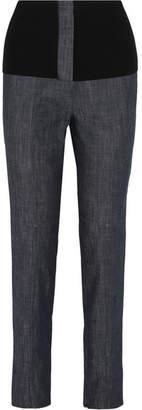 Tibi Camille Ribbed Jersey-trimmed High-rise Straight-leg Jeans - Dark denim