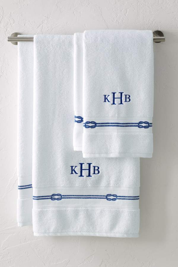 Lands'end Rope Embroidered Novelty Bath Towel