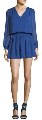 Alice + Olivia Adaline V-Neck Smocked Waist Chiffon Mini Dress