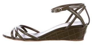 Chanel Patent Leather Wedge Sandals