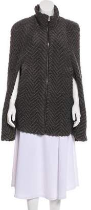 L'Agence Boucle-Knit Patterned Cape