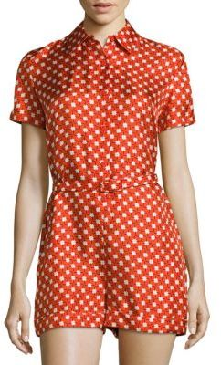 Carven Short-Sleeve Floral Silk Jumpsuit