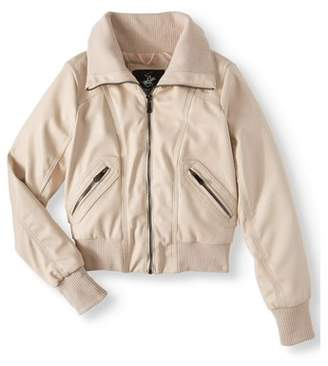 Beverly Hills Polo Club Faux Leather Bomber Jacket with Rib Collar and Cuff (Big Girls)
