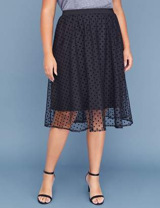 Lane Bryant Polka Dot Mesh Full Midi Skirt