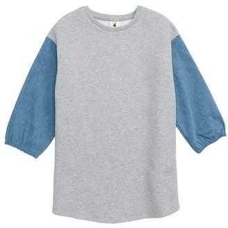 Stem Denim Puff Sleeve Sweatshirt Dress
