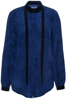 Somerville . Liberty Silk Blouse In Navy Blue Floral