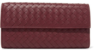 Bottega Veneta - Intrecciato Leather Wallet - Burgundy $760 thestylecure.com