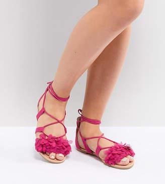 Asos DESIGN Faa Wide Fit Tie Leg Flat Sandals