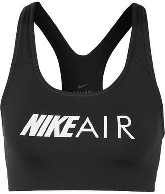 Nike Swoosh Printed Dri-fit Stretch Sports Bra - Black