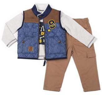 Boys Rock Quilted Vest, Long Sleeve Waffle Knit Top & Cargo Pants, 3pc Outfit Set (Baby Boys & Toddler Boys)