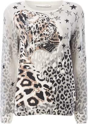 Oui Leopard star jumper