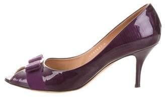 Salvatore Ferragamo Embossed Patent Leather Peep-Toe Pumps