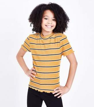 New Look Teens Yellow Stripe Frill Edge T-Shirt