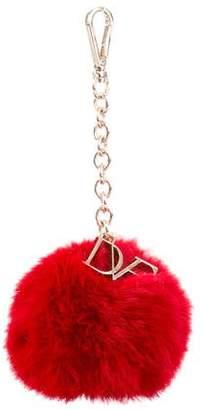Diane von Furstenberg Fur Pom-Pom Key Chain