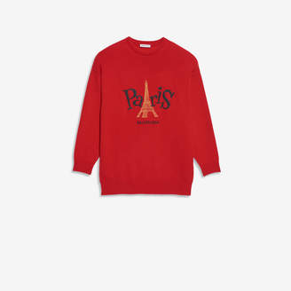 Balenciaga Paris Joy Crewneck in red, black and gold cashmere jersey knit