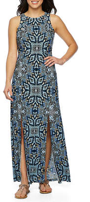 LONDON STYLE Sleeveless Pattern Maxi Dress