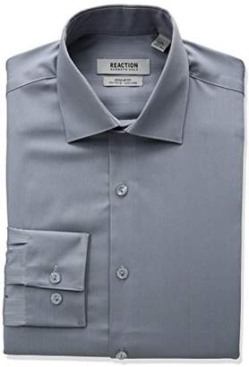Kenneth Cole Reaction Men's Textured Regular Fit Solid Spread Collar Dress Shirt