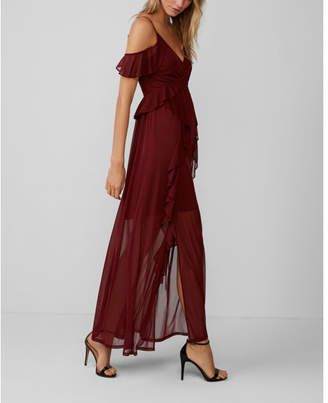 Express ruffle cold shoulder maxi dress