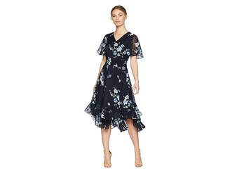 Tahari ASL Petite Flounced Midi Dress Women's Dress