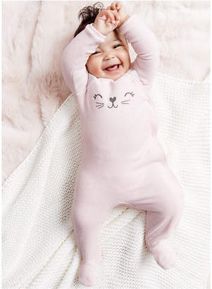 Carter's Carter Baby Girls 1-Pc. Cat Terry Footed Pajama
