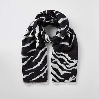 River Island Black zebra print scarf