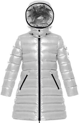 Moncler Quilted Hooded Long Coat, Size 8-14