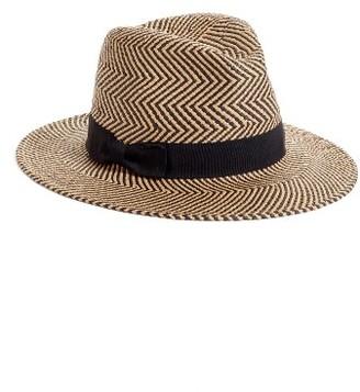 Women's Halogen Zigzag Straw Panama Hat - Black $39 thestylecure.com