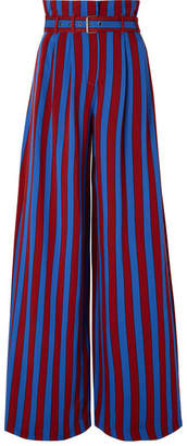 Maison Margiela Belted Striped Crepe Wide-leg Pants - Storm blue