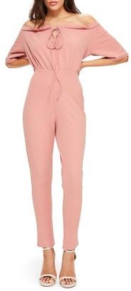 Women's Missguided Off The Shoulder Jumpsuit $82 thestylecure.com