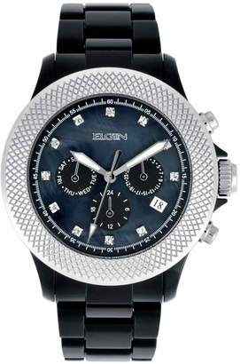 Elgin Womens Black Crystal Chronograph Watch